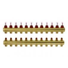 FHF-12F - распределительный коллектор для системы теплого водяного пола конфигурации ''12+12'' с расходомером.